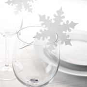Picture of Shimmering Snowflake - Place Card for Glass - White