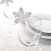 Picture of Shimmering Snowflake - Place Card for Glass - Silver
