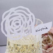 Picture of Frills & Spills - Place Card on Glass - White
