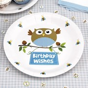 Picture of Little Owls - Birthday Wishes Plates - Blue