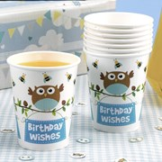 Picture of Little Owls - Birthday Wishes Cups - Blue