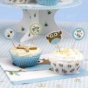 Picture of Little Owls - Cupcake Picks - Blue