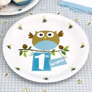 Picture of Little Owls - 1st Birthday Plates - Blue