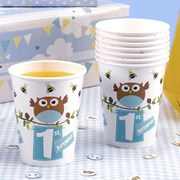 Picture of Little Owls - 1st Birthday Cups - Blue