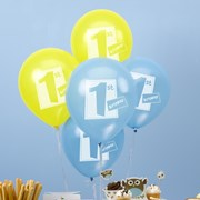 Picture of Little Owls - 1st Birthday Balloons - Blue