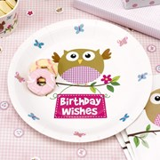 Picture of Little Owls - Birthday Wishes Plates - Pink