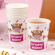 Picture of Little Owls - Birthday Wishes Cups - Pink