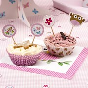 Picture of Little Owls - Cupcake Picks - Pink