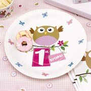 Picture of Little Owls - 1st Birthday Plate - Pink