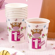 Picture of Little Owls - 1st Birthday Cups - Pink