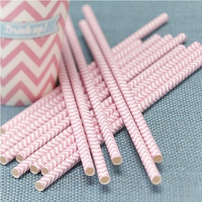 Picture of Chevron Divine - Paper Straws - Pink