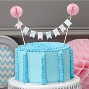 Picture of Chevron Divine - Cake Bunting with Pom Poms