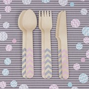 Picture of Chevron Divine - Wooden Cutlery Pink & Grey