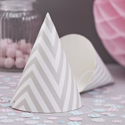 Picture of Chevron Divine - Party Hat - Grey
