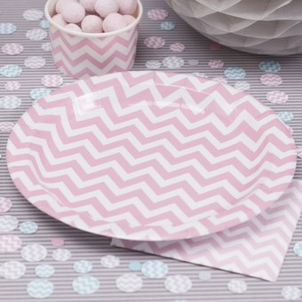 Picture of Chevron Divine - Paper Plates - Pink