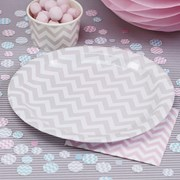 Picture of Chevron Divine - Paper Plates - Grey