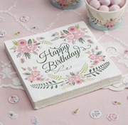 Picture of Floral Fancy - Napkins - Happy Birthday