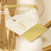 Picture of Metallic Perfection - Luggage Tags - Ivory and Gold
