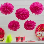 Picture of Neon Birthday - Tissue Paper Pom Poms - Pink