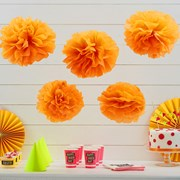 Picture of Neon Birthday - Tissue Paper Pom Poms - Orange