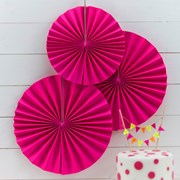 Picture of Neon Birthday - Pinwheel Fan Decorations - Neon Pink