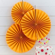 Picture of Neon Birthday - Pinwheel Fan Decorations - Neon Orange