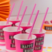 Picture of Neon Birthday - Paper Straws - Neon Pink