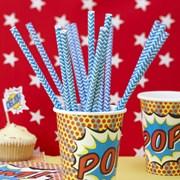 Picture of Pop Art Party - Paper Straws - Chevron Blue