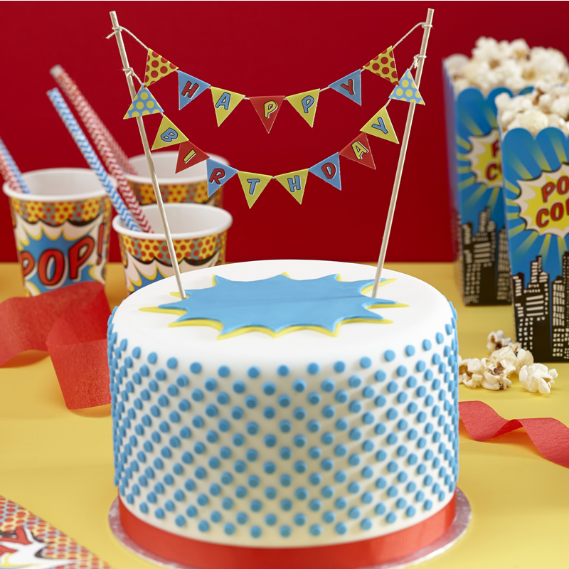 Pop Art Party Cake Bunting Happy Birthday Pop Art Superhero