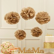 Picture of Pastel Perfection - Tissue Paper Pom Poms - Gold