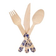 Picture of Party Porcelain - Blue Wooden Cutlery