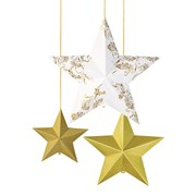 Picture of Party Porcelain - Gold Hanging Star Decorations